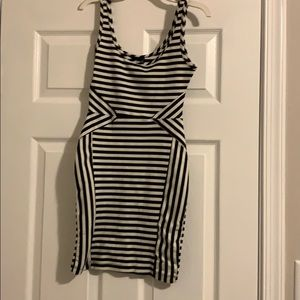 Unique striped designed mini skin tight dress